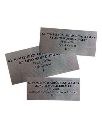 Lézeres tábla ezüst-fekete 7,5x3,5-9x4cm