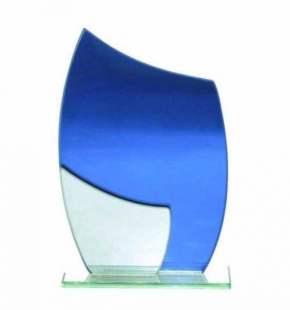 Myriam1 üvegdíj kék, tükrös