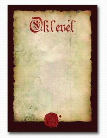 OKLEVÉL A/4 PERGAMENES